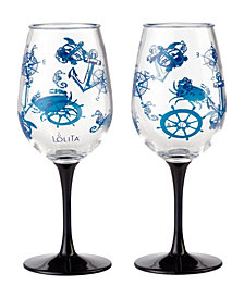 Enesco Lolita Set Sail 2-Pc. Wine Glass Set