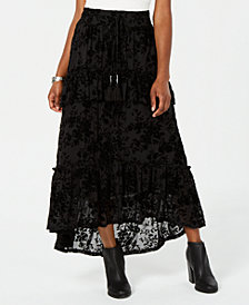 American Rag Juniors' Ruffled Velvet Burnout Maxi Skirt, Created for Macy's