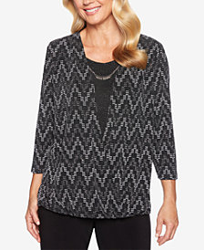 Alfred Dunner Petite Shining Moments Glitter Necklace Top