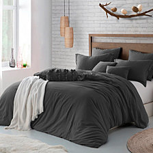 Microfiber Washed Crinkle Duvet Cover & Shams, King/California King