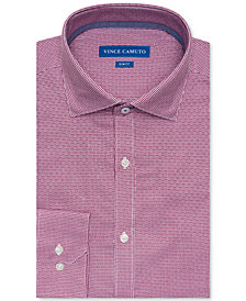 Vince Camuto Men's Slim-Fit Comfort Stretch Burgundy Basket Dobby Dress Shirt
