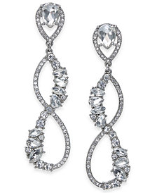 I.N.C. Silver-Tone Crystal Linear Drop Earrings, Created for Macy's