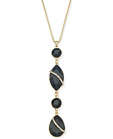 "Thalia Sodi Gold-Tone Black Crystal Teardrop Pendant Necklace, 32"" + 3"" extender, Created for Macy's"
