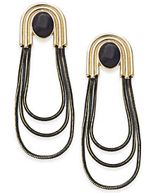 "Thalia Sodi Extra Large Gold-Tone Black Crystal Loop Drop Earrings, 2.75"", Created for Macy's"