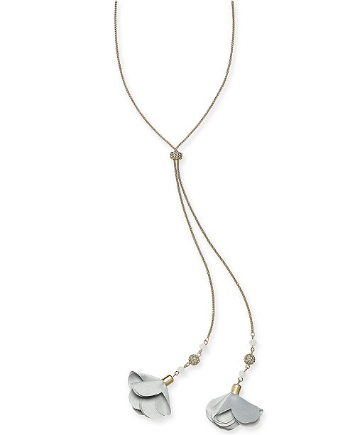 "INC International Concepts I.N.C. Gold-Tone Crystal Petal Lariat Necklace, 20"" + 3"" extender, Created for Macy's"