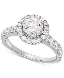 Lab Grown Diamond Halo Engagement Ring (2 ct. t.w.) in 14k White Gold