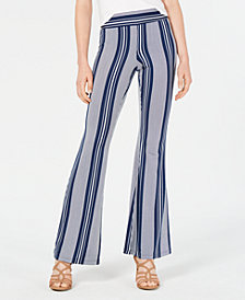 BCX Juniors' Striped Flare-Leg Pants