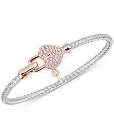 Diamond Heart Lock & Key Braided Mesh Bangle Bracelet (1/4 ct. t.w.) in Sterling Silver & 14k Rose Gold-Plate