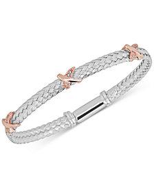 Diamond X Braided Mesh Bangle Bracelet (1/5 ct. t.w.) in Sterling Silver & 14k Rose Gold-Plate