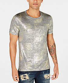 GUESS Men's Gold & Silver Textured T-Shirt