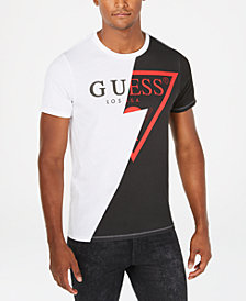 GUESS Mens Spliced Logo Graphic T-Shirt