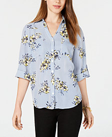 BCX Juniors' Striped Floral-Print Blouse
