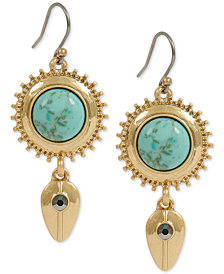 Lucky Brand Gold-Tone Pavé & Stone Disc Drop Earrings