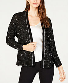 John Paul Richard Petite Sequined Open-Front Cardigan