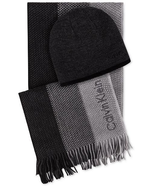 ... Calvin Klein Men s Hat   Ombr eacute  Scarf Set 2297ce41c1d