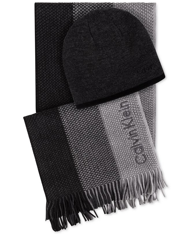 Calvin Klein Men's Hat & Ombré Scarf Set, Created for Macy's