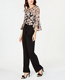 NY Collection Petite Sheer-Top Bell-Sleeve Jumpsuit