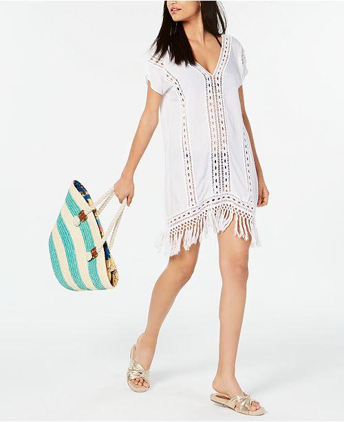 7cb2c6a33c Raviya Crochet Fringe Cover-Up Dress & Reviews - Swimwear - Women ...
