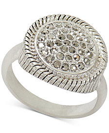Lucky Brand Silver-Tone Pavé Textured Ring