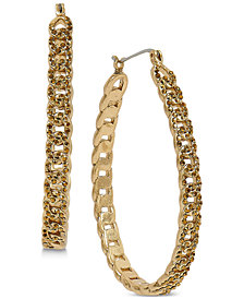 Lucky Brand Gold-Tone Pavé Chain Hoop Earrings