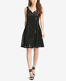 DKNY Sequined Fit & Flare Dress, Created for Macy's