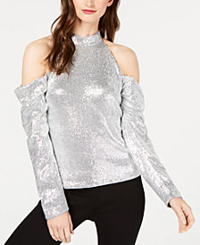 Rachel Zoe Jakki Sequin Cold-Shoulder Blouse