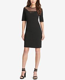 DKNY Illusion Mesh Sheath Dress, Created for Macy's