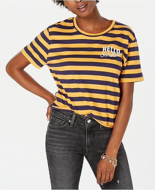Rebellious One Juniors' Hello Sunshine Graphic-Print T-Shirt