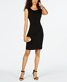 Connected Petite Shoulder-Stud Stretch Dress