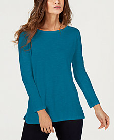 Eileen Fisher Organic Cotton Boat-Neck Top