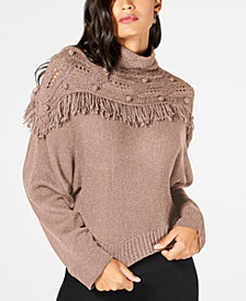 Rachel Zoe Andie Mock-Neck Fringe Sweater