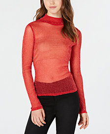 XOXO Juniors' Sheer Metallic Turtleneck Top