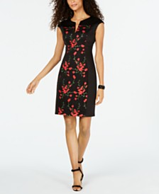 Connected Petite Floral-Embroidered Dress