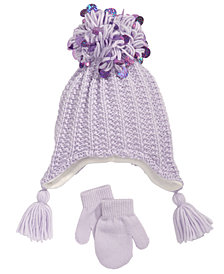 FAB Toddler Girls 2-Pc. Sequinned Tassels Hat & Mittens Set