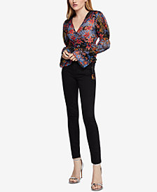 BCBGeneration Floral-Print Wrap Top