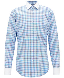 BOSS Men's Slim-Fit Vichy-Checked Cotton Shirt