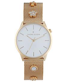 Thom Olson Women's Gold-Tone Mesh Bracelet Watch 34mm