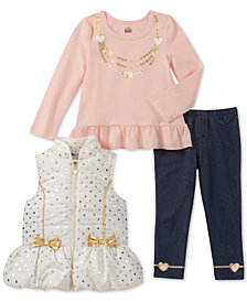 Kids Headquarters Little Girls 3-Pc. Puffer Vest, Peplum T-Shirt & Denim Leggings Set