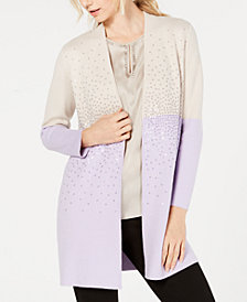 Alfani Sequined Colorblocked Cardigan, Created for Macy's