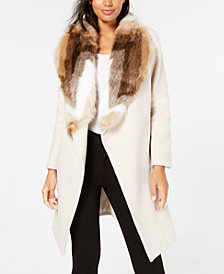 Alfani Petite Faux-Fur Collar Belted Coat, Created for Macy's