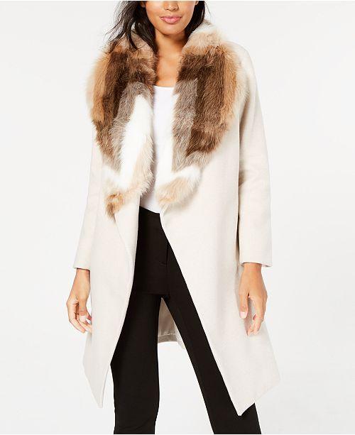 039a518e568 Alfani Petite Faux-Fur Collar Belted Coat