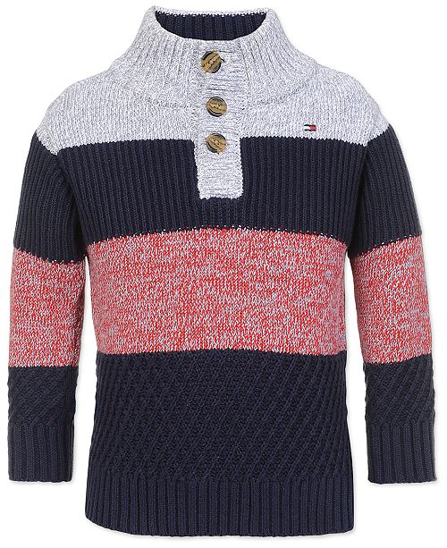 Tommy Hilfiger Toddler Boys Colorblocked Mock Neck Sweater