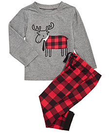 First Impressions Baby Boys T-Shirt & Plaid Jogger Pants, Created for Macy's