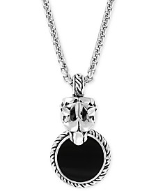 "EFFY® Men's Onyx (15mm) & Diamond Accent Panther 20"" Pendant Necklace in Sterling Silver"