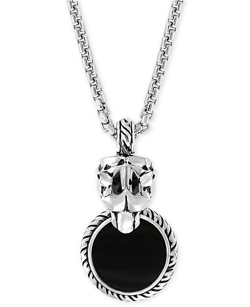 """EFFY Collection EFFY® Men's Onyx (15mm) & Diamond Accent Panther 20"""" Pendant Necklace in Sterling Silver"""