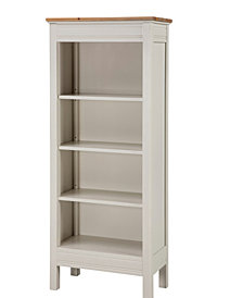 Savannah Tall Bookcase, Ivory with Natural Wood Top