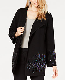 Alfani Sequined Open-Front Cardigan, Created for Macy's