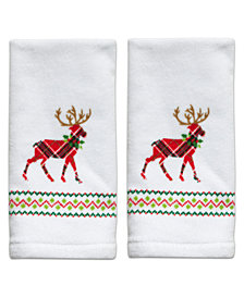 Dena Reindeer Cotton 2-Pc. Fingertip Towel Set