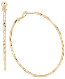 BCBG Gold-Tone Textured Hoop Earrings