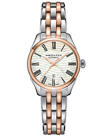 Hamilton Women's Swiss Automatic Jazzmaster Wave Two-Tone PVD Stainless Steel Bracelet Watch 30mm
